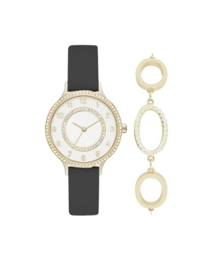 Women's Analog Black Strap Watch 34mm with Gold-Toned Cubic Zirconia Crystal Bracelet Gift Set