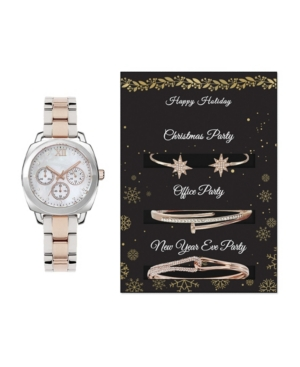 Women's Analog Two-Toned Metal Strap Watch 34mm with Holiday Party Bracelets Cubic Zirconia Gift Set