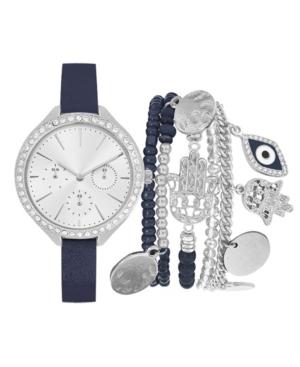 Women's Analog Navy Strap Watch 34mm with Silver-Tone Evil Eye Bracelets Set