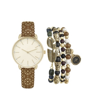 Women's Analog Brown Studded Strap Watch 34mm with Beaded Bracelets Set
