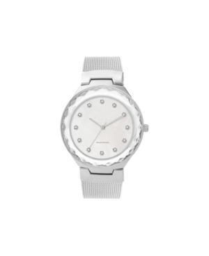 American Exchange Women's Metal Diamond Silver-Tone Stainless Steel Mesh Analog Watch
