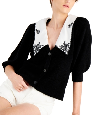 Applique Collar Puffed Sleeve Cardigan