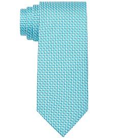 Men's Criss Cross Print Silk Tie