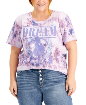 Plus Trendy Tie-Dyed Graphic Print T-Shirt