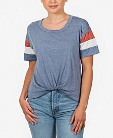 Juniors' Striped-Sleeve Twist-Front T-Shirt