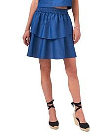 Women's Elastic Waist Double Layer Skirt