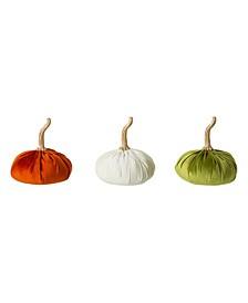 Set of 3 Velvet-textured Pumpkins