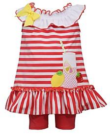 Baby Girls 2 Piece Lemonade Knit Top and Knit Bike Short Set