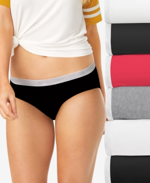 Women's 6-Pk. Cotton Sporty Hipster Underwear With Cool Comfort PP41SB