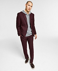 Men's Slim-Fit Burgundy Solid Suit Separates, Created for Macy's