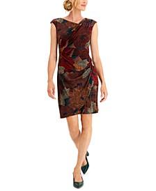Petite Asymmetrical-Neck Printed Sheath Dress