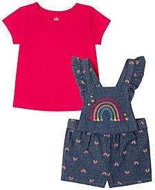 Infant Girl   2-piece Printed Chambray Shortalls and T-shirt
