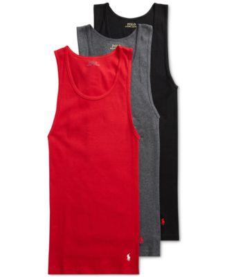 폴로 랄프로렌 Polo Ralph Lauren Mens Classic Cotton Tanks - 3-Pack,Red/Grey/Black