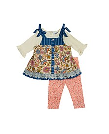 Baby Girls 2-Piece Printed Jumper Dress and Leggings Set