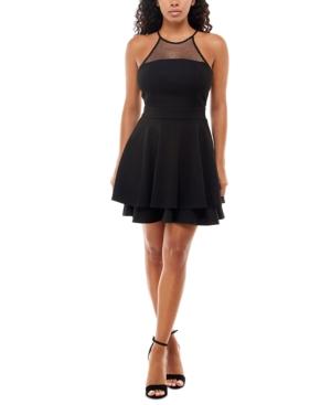 Juniors' Glitter Mesh-Back A-Line Dress