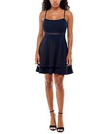 Juniors' Illusion-Waist A-Line Dress
