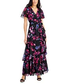 Floral-Print Tiered Tie-Waist Flutter-Sleeve Dress