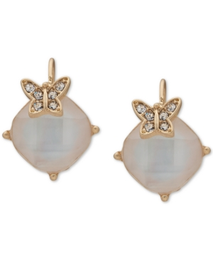 Gold-Tone Pave Butterfly & Stone Drop Earrings