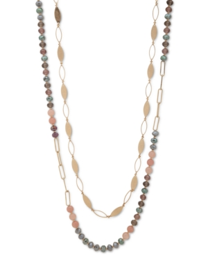 """Gold-Tone Beaded 32"""" Long Layered Necklace"""