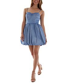 Juniors' Bubble-Hem Fit & Flare Dress