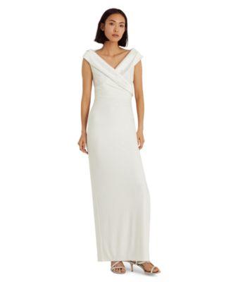 로렌 랄프로렌 Lauren Ralph Lauren Jersey Off-the-Shoulder Gown,Cream