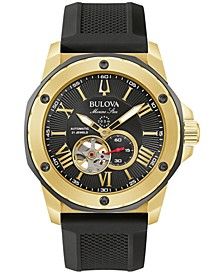 Men's Automatic Marine Star Black Silicone Strap Watch 45mm