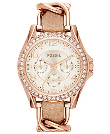 Fossil Women's Riley Rose Gold-Tone Chain and Bone Leather Strap Watch 38mm ES3466