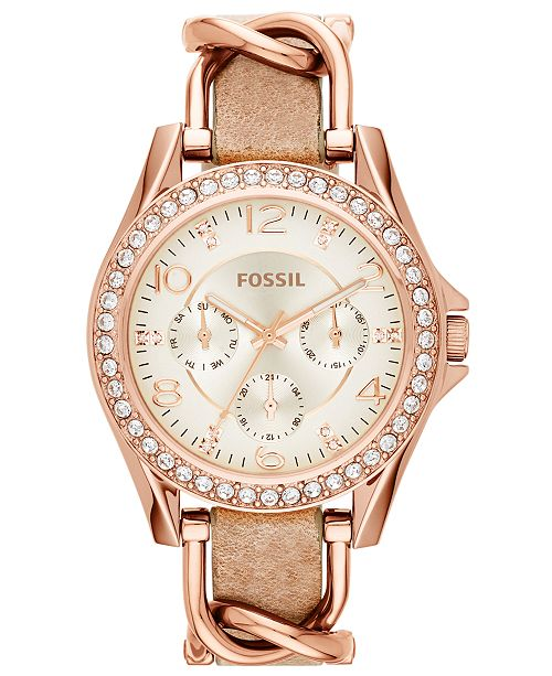 f2d7a1f1b ... Fossil Women's Riley Rose Gold-Tone Chain and Bone Leather Strap Watch  38mm ES3466 ...