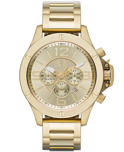 A X Armani Exchange Men's Chronograph Gold Ion-Plated Stainless Steel Bracelet Watch 48mm AX1504
