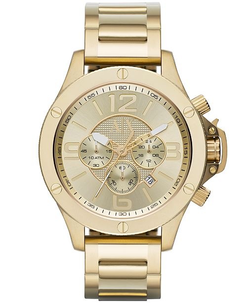 a2ef68ac3 ... A|X Armani Exchange Men's Chronograph Gold Ion-Plated Stainless Steel  Bracelet Watch 48mm ...