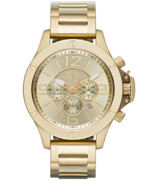 AX Armani Exchange Men's Chronograph Gold Ion-Plated Stainless Steel Bracelet Watch 48mm AX1504