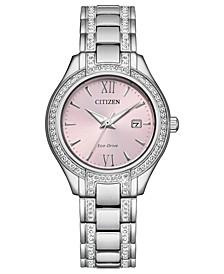 Eco-Drive Women's Silhouette Crystal Stainless Steel Bracelet Watch 30mm