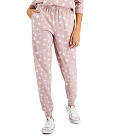Juniors' Star-Print Fleece Jogger Pants