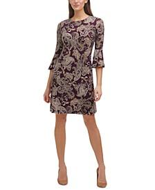 Petite Bell-Sleeve Paisley Shift Dress
