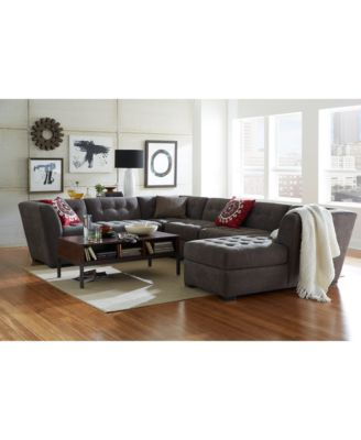 Furniture CLOSEOUT! Roxanne Fabric 6 Piece Modular Sectional Sofa With  Ottoman U0026 Chaise, Created For Macyu0027s   Furniture   Macyu0027s