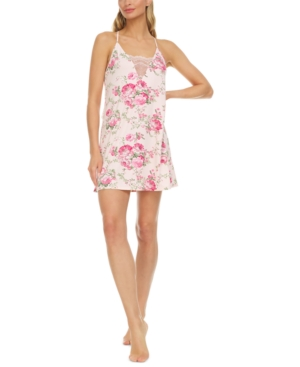 Kat Printed Lace-Trim Knit Chemise Nightgown