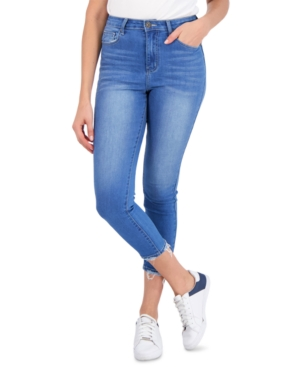 Juniors' Frayed-Cuff Cropped Jeggings