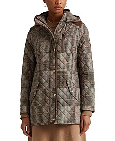 Houndstooth Quilted Hooded Coat, Created for Macy's