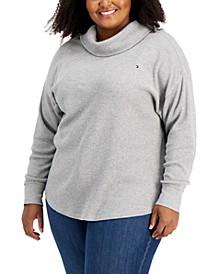 Plus Size Cotton Waffle-Knit Turtleneck Top
