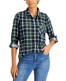 Juniors' Button-Front Plaid Knit Shirt
