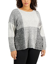 Plus Size Checkered Sweater