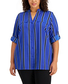 Plus Size Striped Roll-Tab Shirt