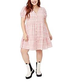 Plus Size Trendy Woven Tessa Babydoll Mini Dress