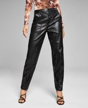 Women's Faux-Leather Utility Pants