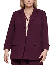 Plus Size Open-Front Roll-Cuff Jacket
