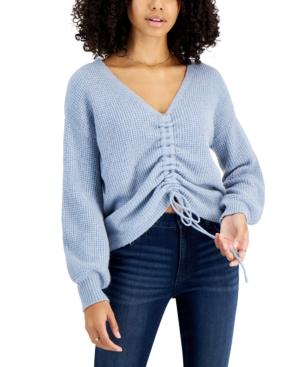 Juniors' Drawstring V-Neck Sweater