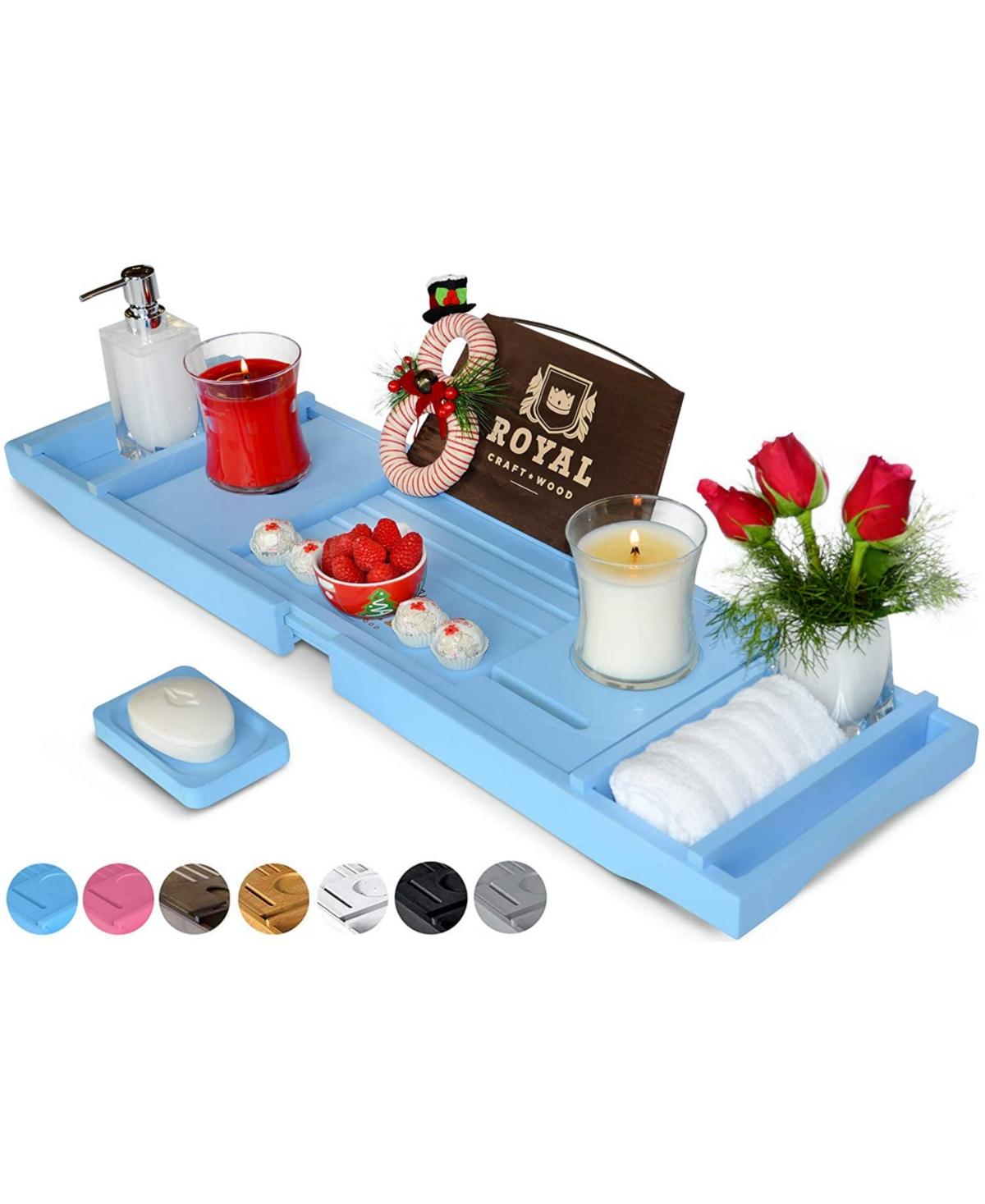 Royal Craft Wood Luxury Bathtub Caddy Tray Organizer