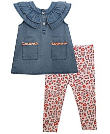 Baby Girls Denim Button Front Top with Leopard Knit Trimmed Pockets, Ruffled Yoke and Matching Cotton Span Legging Set
