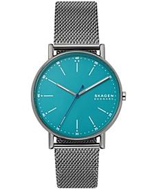 Men's Signatur Three-Hand Gunmetal-Tone Steel-Mesh Bracelet Watch 40mm