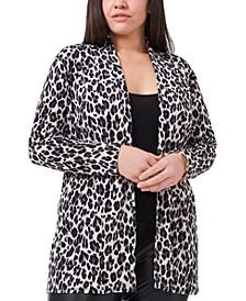 Plus Size Leopard-Print Cardigan
